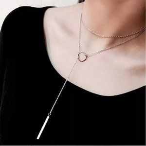 NEW 925 Sterling Silver Bar Circle Necklace
